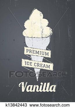手绘图 - 黑板, 冰淇淋