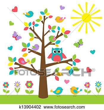 剪贴画 - 色彩丰富, 树, 带, 漂亮, 猫头鹰, 同时,, 鸟.图片