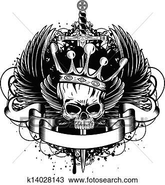 手绘图 - 头骨, 王冠,