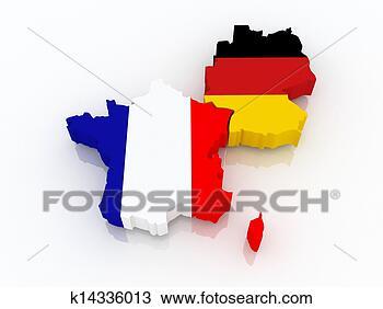 地图, 法国, 德国