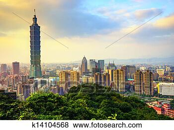 Stock Photo - taipei taiwan   skyline. fotosearch   - search stock   photos, pictures,   wall murals, images,   and photo clipart