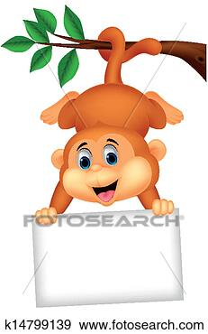 Stock illustration cute monkey cartoon with blank sign fotosearch