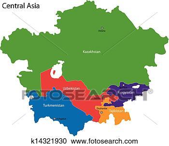 - 中亚, 地图