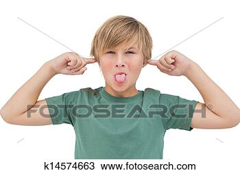 Stock Photo - Blonde boy blocking his ears with fingers. Fotosearch - Search Stock Images, Poster Photographs, Pictures, and Clip Art Photos