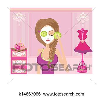 Illustration cute girl applying moisturizer in elegant dressing room