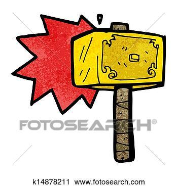剪图clipart - 卡通, 锤子, .的, thor图片