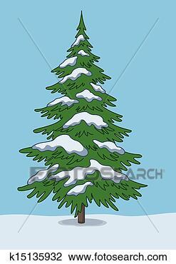 剪贴画 - 圣诞树, 雪,