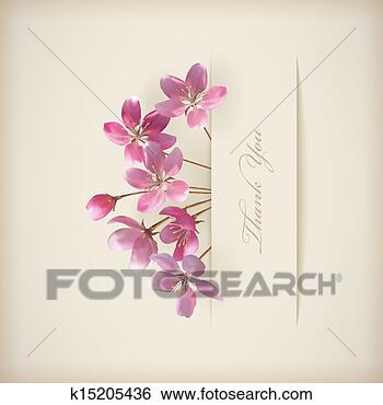 Stock Illustration - Floral spring vector 'Thank you' pink flowers card. Fotosearch - Search Clip Art, Drawings, Fine Art Prints, Illustrations, and Vector EPS Graphics Images