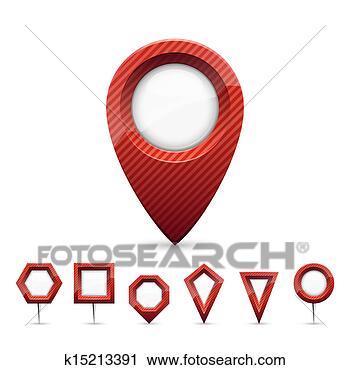 红色, 地图, markers