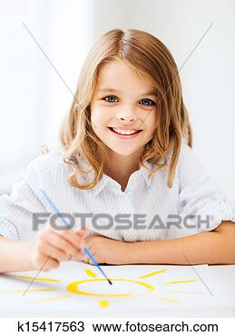 小女孩, 绘画, 在