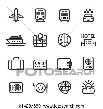 Illustration travel and vacation icons fotosearch search clipart