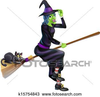 手绘图 - 巫婆, 在上, 扫帚, 带, 黑色的猫图片