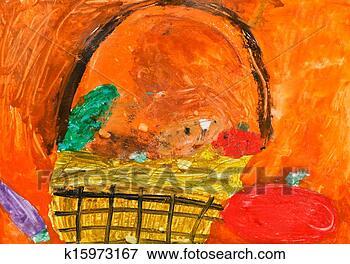 秋天的蔬菜园儿童画