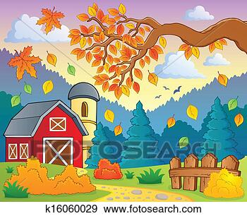 秋天儿童风景画