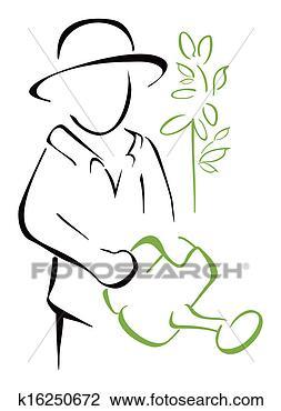 园丁, 拿, 喷壶, 在手中图片