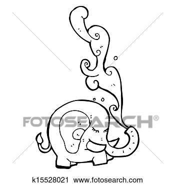 摄影图库 - 大象, 喷水, 卡通图片