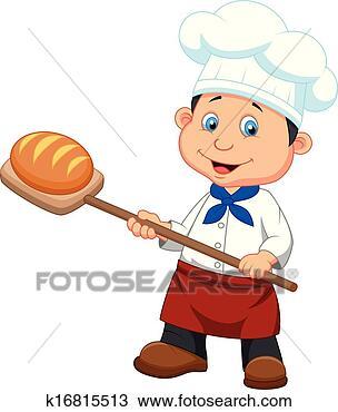 卡通, a, 面包师