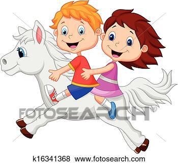 男孩和女孩 骑马