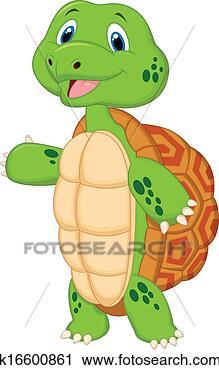 Clipart niedlich schildkröte karikatur präsentieren fotosearch