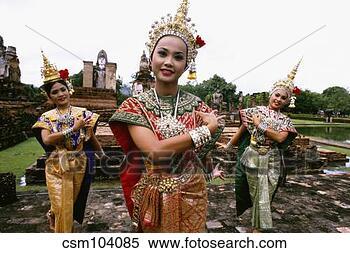 图片银行 - 舞蹈演员, 执行, 在中, 传统, 泰国人, 衣服.
