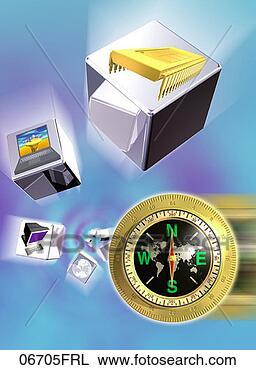 Colección de foto - microchip, computadoras,  cubos, compás.  fotosearch - buscar  fotos e imágenes  y foto clipart