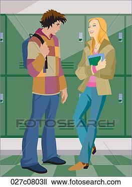 Dibujo - alto, escuela,  pareja, posición,  armarios. fotosearch  - buscar fotos  e imágenes y fotos  clip art