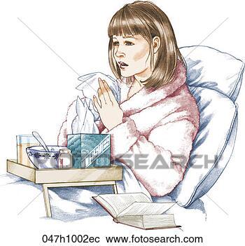 Clipart - femme, malade, mauvais, froid, élevé, res. fotosearch - recherchez des cliparts, des illustrations, des dessins et des images vectorisées au format eps
