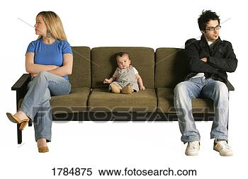 Stock Image - couple fighting  with child caught  in the middle.  fotosearch - search  stock photos,  pictures, images,  and photo clipart