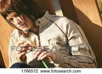 Stock Photo - woman feels doubt.  fotosearch - search  stock photos,  pictures, wall  murals, images,  and photo clipart