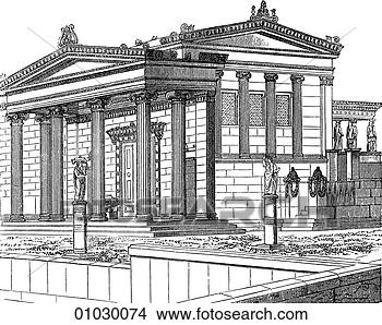 Drawings Of Architecture Ancient Greece Line Art C3 Perspective