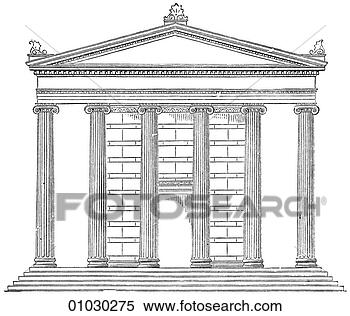 Architecture Ancient Greece Line Art Elevation Classical Ionic