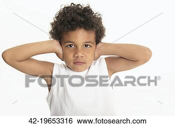Stock Images of Stubborn boy covering his ears 42-19653316 ...