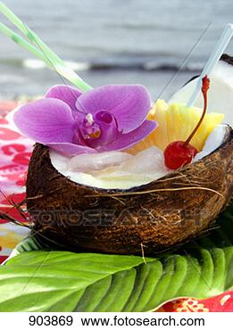 Stock Photograph - pina colada in  a coconut shell.  fotosearch - search  stock photos,  pictures, wall  murals, images,  and photo clipart