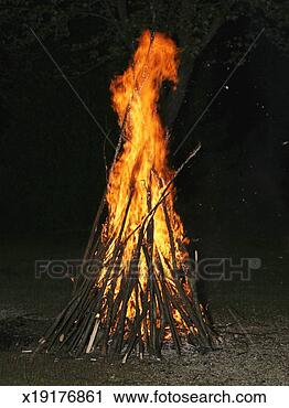 Stock Photography - bonfire at night. fotosearch - search stock photos, pictures, images, and photo clipart