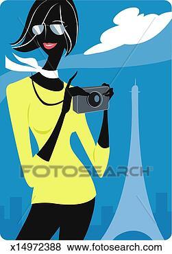 Γυναίκα αμπάρι, φωτογραφηκή μηχανή, in