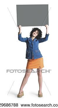 照片 - 高加索人, 女孩, 布朗, 卷曲, 头发, 穿, 斜纹