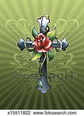 Banco de Imagem - crucifixo, com, rosa. Fotosearch - Busca de Fotografias, Impressões, Imagens, e Fotos Clip Art