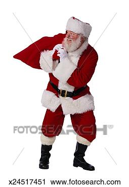 Arquivo de Fotografia - santa, claus,  carregar, saco,  natal, presentes.  fotosearch - busca  de fotos, imagens  e clipart