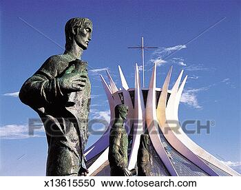 Stock Photography - statues of saints  at brasilia cathedral,  brazil. fotosearch  - search stock  photos, pictures,  images, and photo  clipart