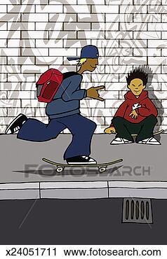 卡通漫画 男孩, skateboarding, 人行道, 另一个, 男孩, 坐, 滑高清图片