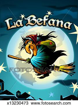 Stock Photo Of La Befana Flying On Broom In Front Of Full