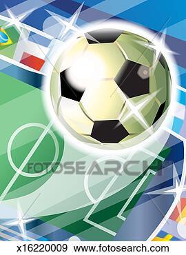 Arquivo Fotográficos - futebol, bola,  futebol, campo,  fundo. fotosearch  - busca de fotos,  imagens e clipart