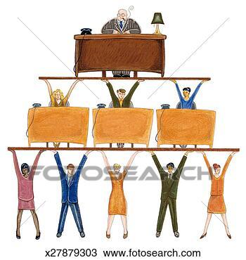 dessin s ance homme bureau soutenu par pyramide. Black Bedroom Furniture Sets. Home Design Ideas