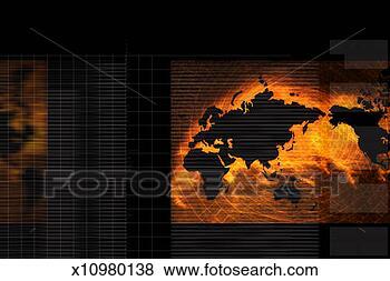 黑色世界地图背景