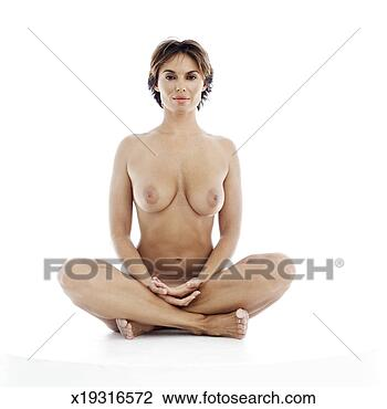 Portrait Of A Nude Woman Sitting Cross Legged View Large Image