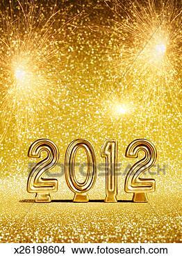 Banco de Imagem - ouro, 2012, números,  fogos artifício.  fotosearch - busca  de fotos, imagens  e clipart