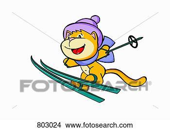 Clipart uno gatto sci neve 803024 cerca clipart for Gatto clipart