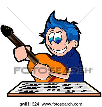 Stock illustration side profile of a boy playing a guitar