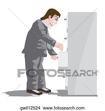 Arquivos de Ilustração - lado, perfil,  homem negócios,  procurar, documentos,  enchimento. fotosearch  - busca de ilustrações  clipeart e desenhos