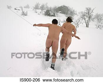 Stock Photo - naked couple running  in the snow. fotosearch  - search stock  photos, pictures,  images, and photo  clipart